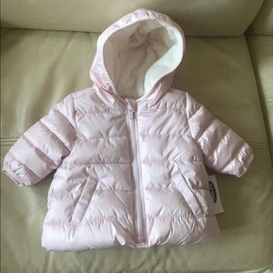BNWT old navy pink puffer jacket 0-3 months